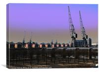 Towards Millenium Dome from Docklands, Canvas Print