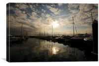 Jersey Marina with Low Sun, Canvas Print