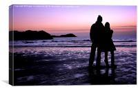 Sunset in North Wales, Newborough, Canvas Print