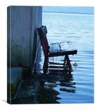 Lakeside bench, Canvas Print