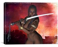 Dark Samurai sword girl nude, Canvas Print