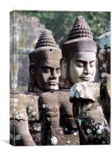 Entrance Statue Heads Angkor Siem Reap Cambodia, Canvas Print