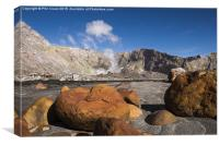 White island, red rocks. , Canvas Print