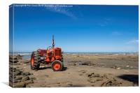 Red tractor, Blue sky., Canvas Print