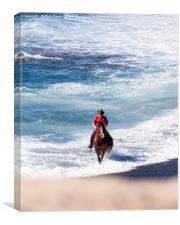 Horseman galloping through the surf. , Canvas Print