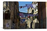 Venetian street on washing day, Canvas Print
