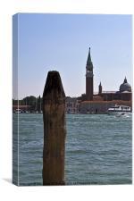 Venetian painted mooring post, Canvas Print