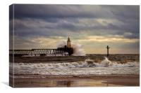 Storm at the harbour mouth, Canvas Print