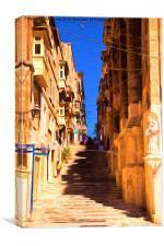 Valletta stairs, Canvas Print