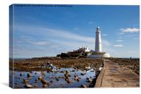 St Mary's Island and Lighthouse, Canvas Print