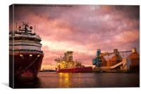Port of Blyth at dusk with Artistic Filter, Canvas Print