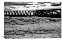 Wooden Pier in black and white, Canvas Print
