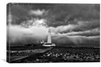 Storm clouds over St Mary's Island, Canvas Print