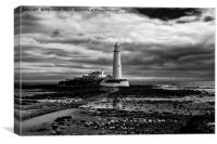 St Mary's Lighthouse and Island in B&W, Canvas Print