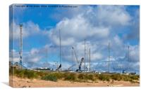 Yachts and cranes, Canvas Print
