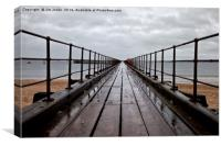 Wet wooden pier, Canvas Print