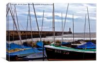 Tynemouth Pier and sailing boats, Canvas Print