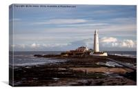 St Mary's Island and lighthouse, Canvas Print