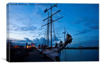 Safely berthed for the night, Canvas Print