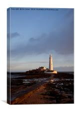 St Mary's Island and lighthouse., Canvas Print