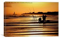 Fishermen at Sunrise, Canvas Print