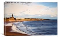 Tynemouth Long Sands with Liquid Colour filter, Canvas Print