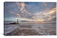 Winter dawn at St Mary's Island, Canvas Print