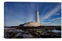 St Mary's Island and lighthouse (Landscape view), Canvas Print