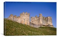 Warkworth Castle under a blue sky, Canvas Print