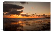 Daybreak on the beach in Northumberland, Canvas Print