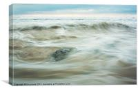 Flowing water on a beach, Canvas Print