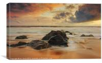 Sunset over the rocks, Canvas Print