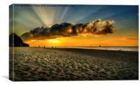 Sunset Puka beach, Canvas Print