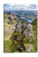 Llydaw and Glaslyn Lakes, Canvas Print