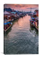 Floating Market Sunset, Canvas Print
