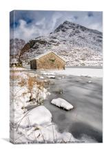 Frozen Lake Snowdonia, Canvas Print