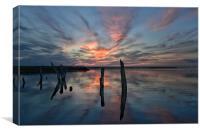 Sunset over Thornham marsh, Canvas Print
