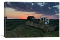 Sunset over the old wreck, Canvas Print
