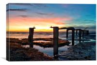 Sunset over Snettisham marsh, Canvas Print