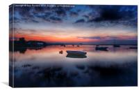 Sunset reflections Burnham Overy Staithe, Canvas Print