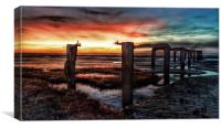 Sunset over the old jetty at Snettisham, Canvas Print