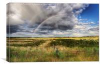 Double rainbow over Holkham , Canvas Print