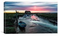 Thornham quay sunset, Canvas Print
