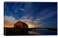 The old coal barn in Thornham under the star ligh, Canvas Print
