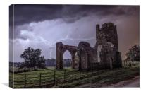 Lightning over the ruins of St Mary's Church, Canvas Print