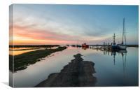 Sunset over Thornham harbour, Canvas Print