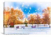 Snow Fun in the Park, Canvas Print