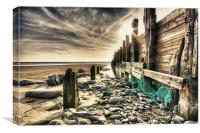 Amroth Beach Groins, Canvas Print