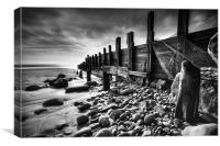 Amroth Beach Groins B&W, Canvas Print