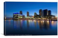 Media City at night in Salford, Canvas Print